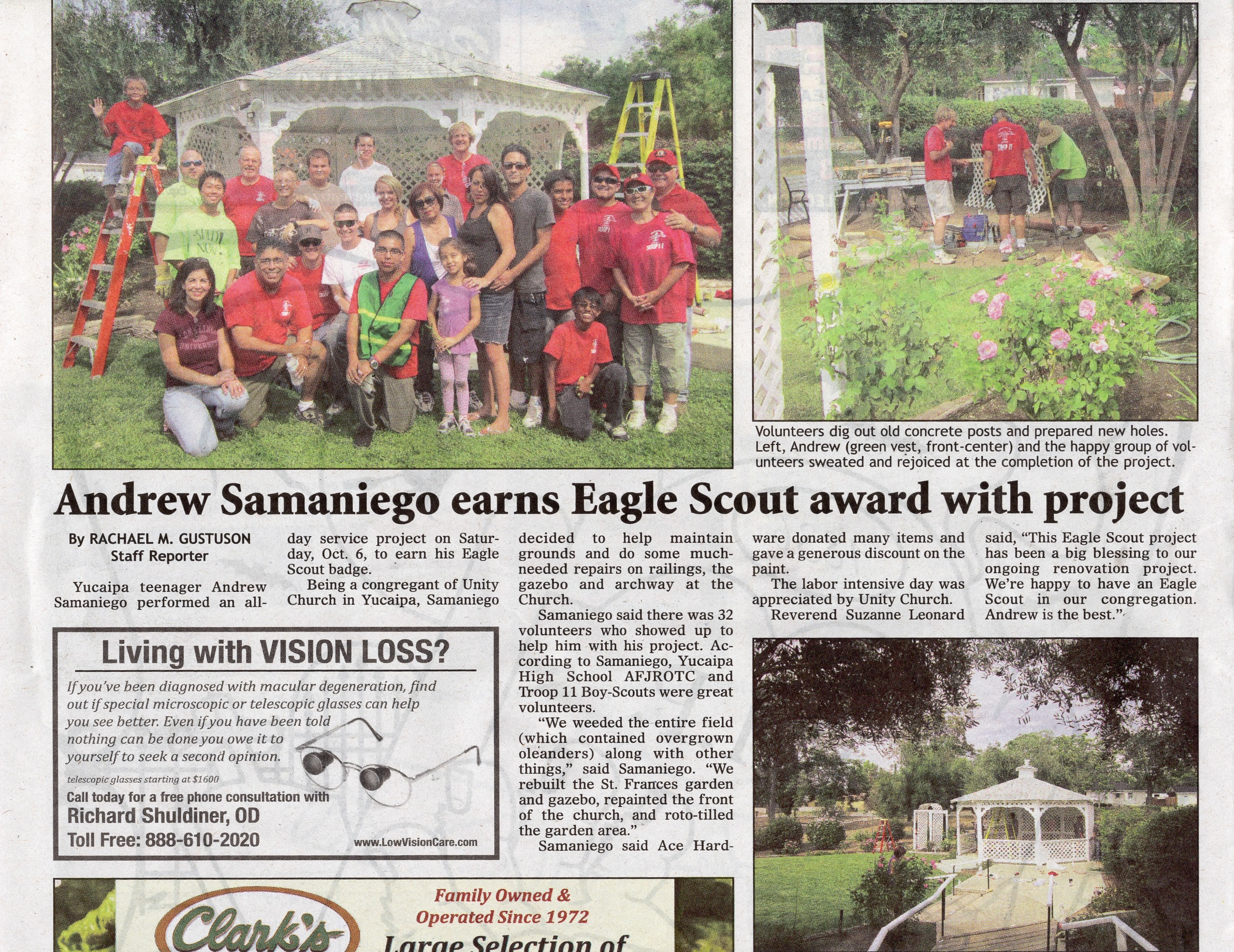 Andrew Samaniego Completes his Boy Scout Eagle Project