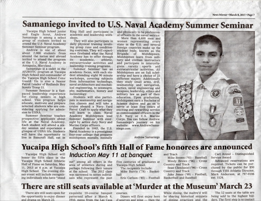 Andrew Samaniego invited to The Naval Academy Summer Seminar