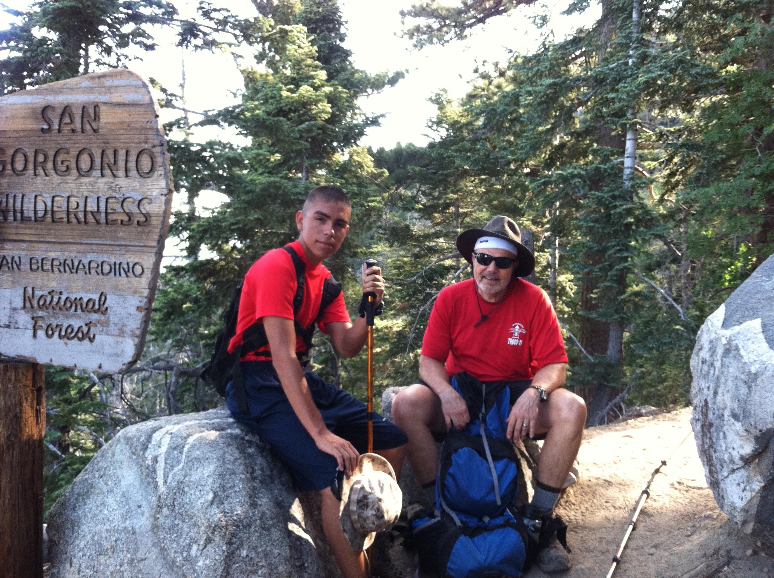 Andrew and David, taking break at halfway point to Mazanita Peak