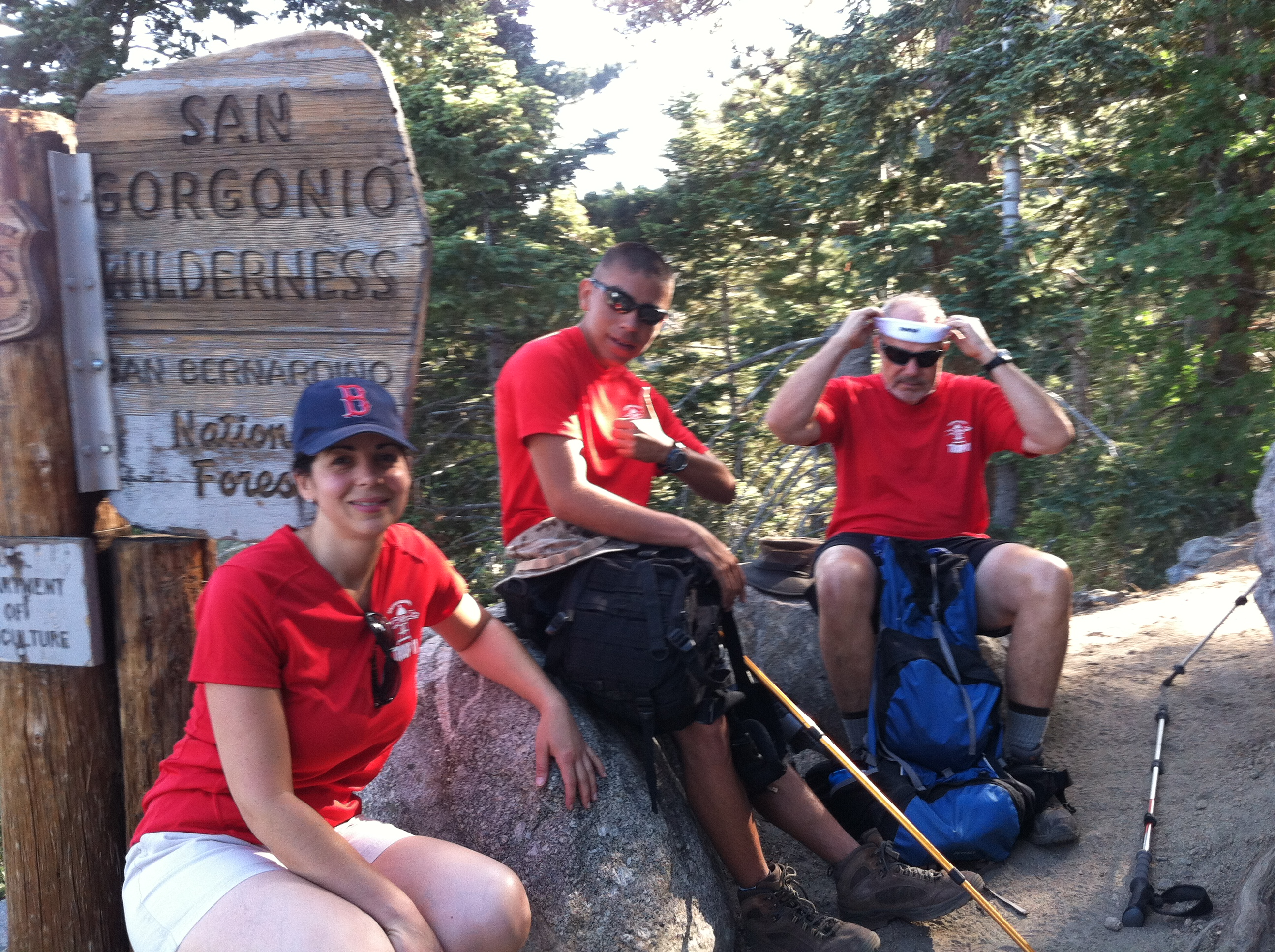 We reach Mazanita Peak halfway point. Andrew Samaniego, Liz Samaniego, David Kehrelein.