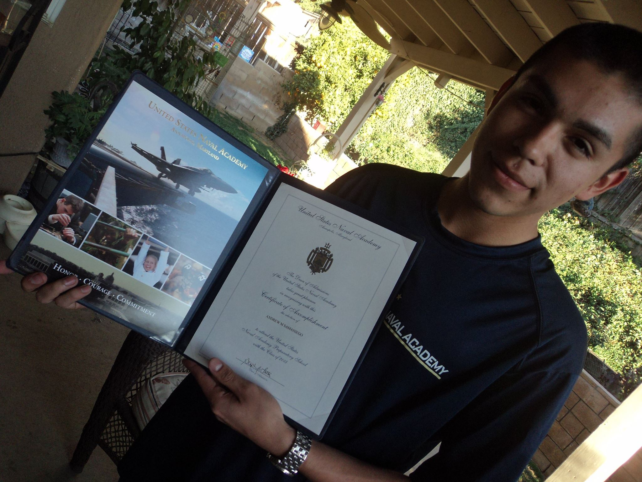 Andrew is leaving for Naval Academy Prep School in July