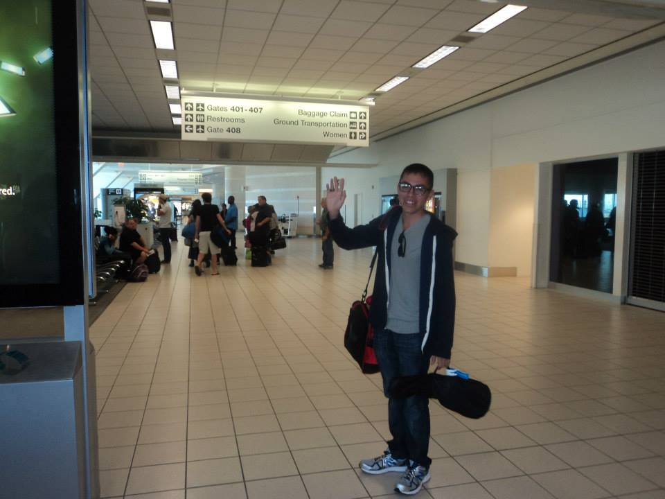 Andrew waves goodbye as he leaves for Newport, Rhode Island.